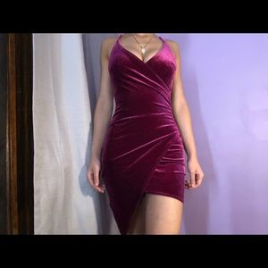 Forever 21 midi dress velvet like pink fushia